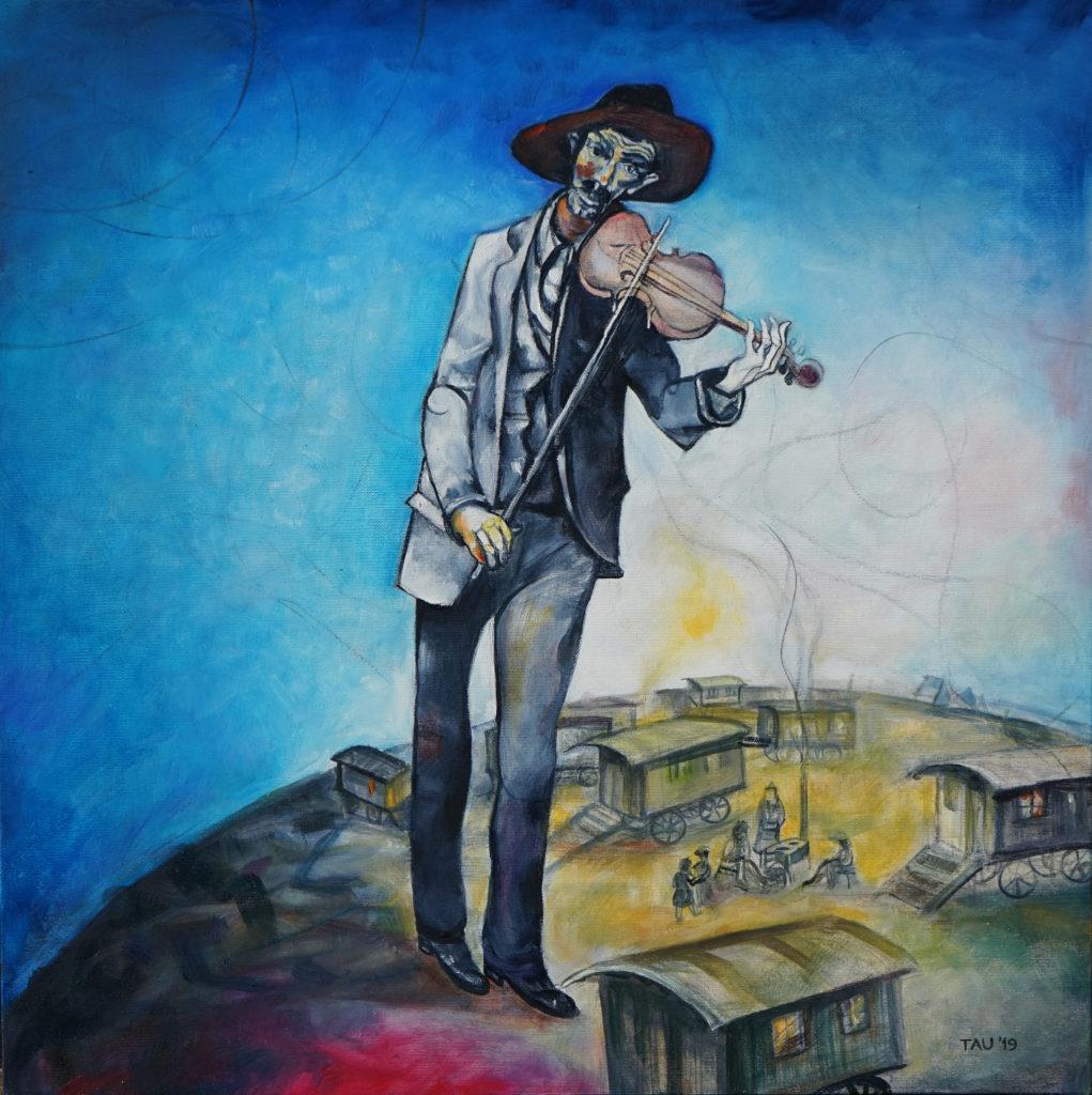 Carmelo Tau, Campo nomade, 2019, olio su tela, cm 60x60