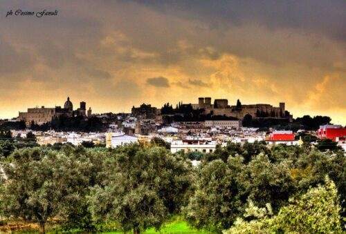 Panorama di Oria con Alberi, abitato e centro storico
