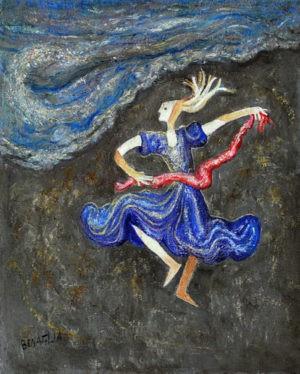 dipinto di ballerina con drappo rosso e vestito azzurro