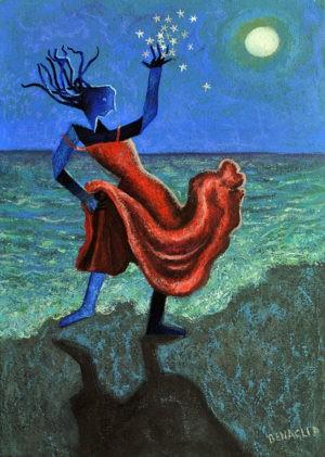 dipinto di ballerina con abito rosso in riva al mare con le stelle su una mano verso il cielo