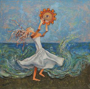 Dipinto di ballerina on abito bianco suona il tamburello in riva al mare con onde spumose