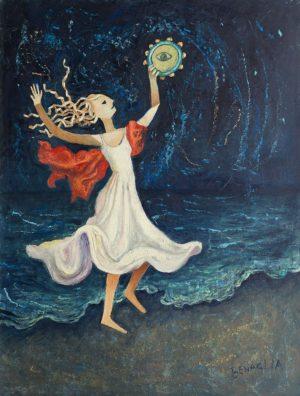 Dipinto di ballerina con abito bianco, drappo rosso e tamburello in riva al mare