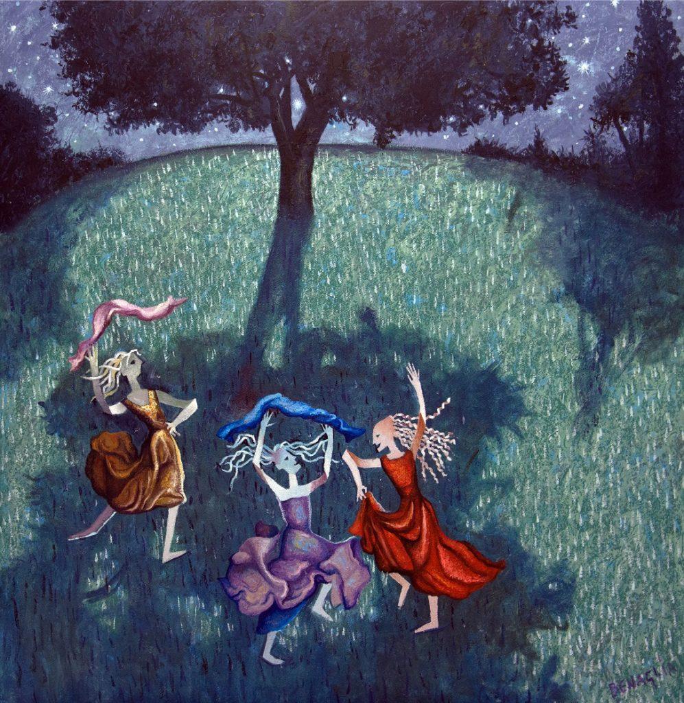 Dipinto di tre donne danzanti all'ombra di un albero al chiaro di luna
