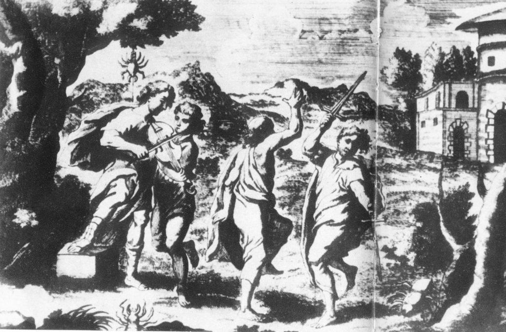 Illustrazione in bianco e nero con uomini danzanti e suonatore di violino, scena agreste con ragno