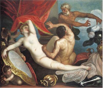 Dipinto di Alessandro Varotari, detto Padovanino raffigurante Vulcano che sorprende gli amanti Venere e Marte