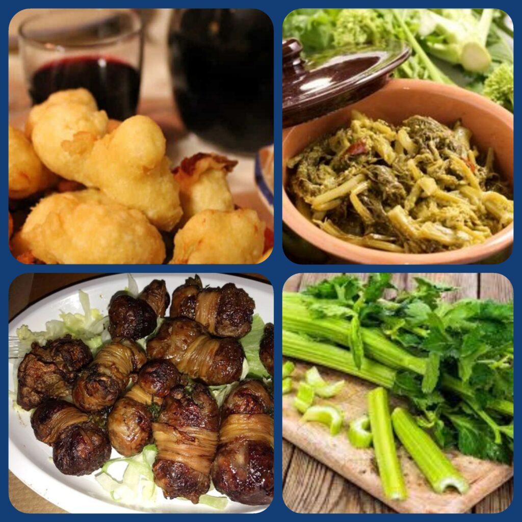 Foto in quattro riquadri con Pittole, verdure, turcinieddhri e sedano