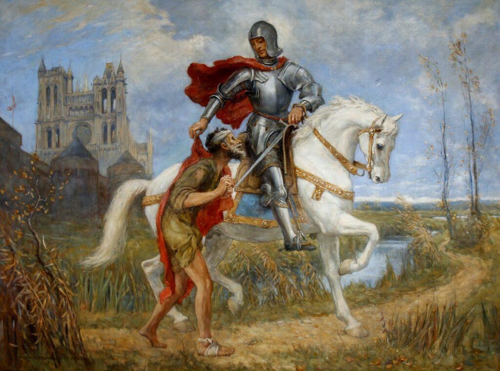 Dipinto raffigurante San Martino a cavallo he dona metà del suo mantello al poverello