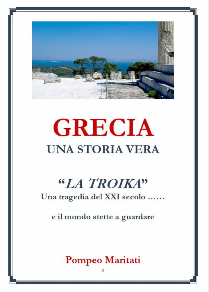 Seconda di copertina. Su fondo bianco il titolo e autore, in alto vista panoramica greca con uno scorcio di colonna, il mare in lontananza e alcuni alberi