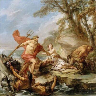 Dipinto con Poseidone coperto da drappo rosso che esce dal mare con con uomini che reggono una conchiglia per farlo approdare
