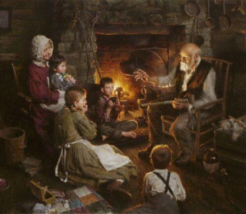 Dipinto di ambiente domestico con focolare acceso e nonno racconta a nipoti e nonna