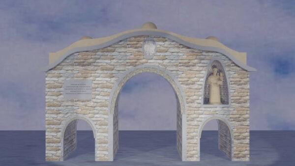 Ricostruzione virtuale di Porta urbica con varchi laterali più piccoli con statua di S. Antonio da Padova