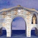 Ricostruzione virtuale Porta urbica con varco centrale e due piccoli laterali con statua di S. Antonio